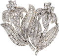 Estate Jewelry:Brooches - Pins, Diamond, Platinum Double-Clip-Brooch, circa 1950. ...