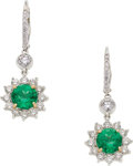 Estate Jewelry:Earrings, Emerald, Diamond, Platinum, Gold Earrings. ...