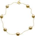 Estate Jewelry:Necklaces, Golden South Sea Cultured Pearl, Gold Necklace . ...