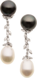 Estate Jewelry:Earrings, South Sea Cultured Pearl, Diamond, White Gold Earrings . ...