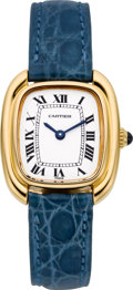 Estate Jewelry:Watches, Cartier Lady's Gold, Leather Strap Gondole Wristwatch, circa 1976....