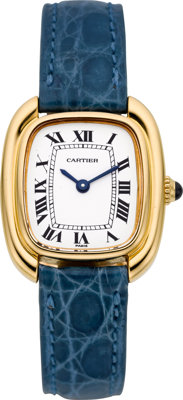 Cartier Lady's Gold, Leather Strap Gondole Wristwatch, circa 1976
