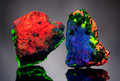 Minerals:Flourescent, EXCEPTIONAL AND VERY RARE PAIR OF SMALL CABINET-SIZED FRANKLINFLUORESCENTS. ...