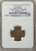 Civil War Merchants, 1863 George Beard & Son, Detroit, MI, F-225G-2b, R.8 -Environmental Damage - NGC Details. Unc.. Purchased from JamesKell...