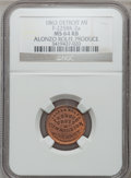 Civil War Merchants, 1863 Alonzo Rolfe, Detroit, MI, F-225BK-2a, R.7, MS64 Red and BrownNGC.. Purchased from J. Barnet (8/15/1939) for 25 cent...