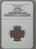 Civil War Merchants, 1863 F.J. & J. Palmer, Atlas, MI, F-45A-2a, R.3, AU58 NGC..From The Clifton A. Temple Collection....