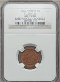 Civil War Merchants, 1864 Joseph Riggs, Detroit, MI, F-225BI-3a, R.9, MS65 Red and BrownNGC.. From The Clifton A. Temple Collection....
