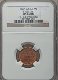 Civil War Merchants, 1863 F.J. & J. Palmer, Atlas, MI, F-45A-3a, R.5, MS65 Red andBrown NGC.. From The Clifton A. Temple Collection....