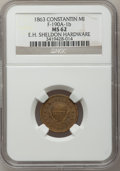 1863 E.H. Sheldon, Constantine, MI, F-190A-1b, R.8 MS62 NGC. Purchased from George Fuld (9/17/1958) for $2.50. From