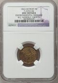 Civil War Merchants, 1863 W.J. Adderley, Detroit, MI, F-225A-6b, R.9 - EnvironmentalDamage - NGC Details. Unc.. Purchased from James Kelly(5/...