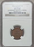 Civil War Merchants, 1863 J.A. Rodier, Detroit, MI, F-225BJ-2a, R.8 MS65 Brown NGC..From The Clifton A. Temple Collection....