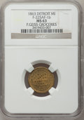 Civil War Merchants, 1863 F. Geiss, Detroit, MI, F-225AF-1b, R.9, MS63 NGC..Purchased from H. Leonard (5/20/1939) for 30 cents.. FromThe ...