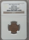 Civil War Merchants, 1863 Roswell Barnes, Brighton, MI, F-85A-1a, R.6, MS62 Brown NGC..From The Clifton A. Temple Collection....
