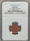 Civil War Merchants, 1863 G.C. Pond, Detroit, MI, F-225BE-2a, R.9, MS65 Red and BrownNGC.. From The Clifton A. Temple Collection....