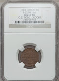 Civil War Merchants, 1863 G.C. Pond, Detroit, MI, F-225BE-5a1, R.9, MS65 Brown NGC..From The Clifton A. Temple Collection....