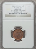 Civil War Merchants, 1863 G.C. Pond, Detroit, MI, F-225BE-6a, R.5, MS65 Red and BrownNGC.. From The Clifton A. Temple Collection....