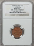 Civil War Merchants, 1864 G.C. Pond, Detroit, MI, F-225BE-7a, R.9, MS62 Red and BrownNGC.. Purchased from H.E. Wilson (9/24/1940) for 11 cents...