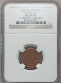 Civil War Merchants, 1863 F. Prouty, Detroit, MI, F-225BF-1a1, R.9, MS65 Brown NGC..From The Clifton A. Temple Collection....