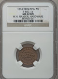 Civil War Merchants, 1863 W.H. Naylor, Brighton, MI, F-85C-1a, R.5, MS62 Brown NGC..Purchased from James Kelly (5/7/1943) for 35 cents..F...