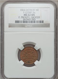 Civil War Merchants, 1864 F. Prouty, Detroit, MI, F-225BF-3a, R.9, MS62 Brown NGC..Purchased from H.E. Wilson (9/24/1940) for 11 cents..F...