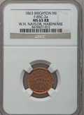 Civil War Merchants, 1863 W.H. Naylor, Brighton, MI, F-85C-2a, R.5, MS65 Red and BrownNGC.. Purchased from James Kelly (5/7/1943) for 35 cents...