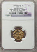 Civil War Merchants, 1863 D. Dickson, Detroit, MI, F-225W-3b, R.8 - Environmental Damage- NGC Details. Unc.. Purchased from James Kelly (5/7/1...