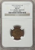 Civil War Merchants, 1863 E.A. Drury, Detroit, MI, F-225X-2b, R.8 MS62 NGC..Purchased from James Kelly (7/8/1943) for 35 cents.. FromThe ...