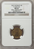 Civil War Merchants, 1863 William Eisenlord, Detroit, MI, F-225Z-3b, R.7, MS62 NGC..Purchased from James Kelly (7/8/1943) for 35 cents..F...