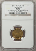Civil War Merchants, 1863 L.S. Freeman, Detroit, MI, F-225AC-3b, R.8 MS65 NGC..Purchased from H. Leonard (5/20/1939) for 30 cents.. FromT...