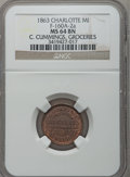Civil War Merchants, 1863 C. Cummings, Charlotte, MI, F-160A-2a, R.6, MS64 Brown NGC..Purchased from James Kelly (5/7/1943) for 35 cents.. ...