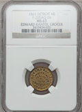 Civil War Merchants, 1863 Edward Kanter, Detroit, MI, F-225AQ-2b, R.8 MS63 NGC..Purchased from James Kelly (5/7/1943) for 35 cents.. From...