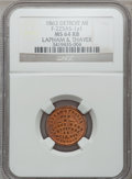 Civil War Merchants, 1863 Lapham & Thayer, Detroit, MI, F-225AS-1a1, R.9, MS64 Redand Brown NGC.. Purchased from James Kelly (5/7/1943) for35...