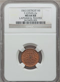 Civil War Merchants, 1863 Lapham & Thayer, Detroit, MI, F-225AS-2a, R.7, MS64 Redand Brown NGC.. Purchased from James Kelly (5/7/1943) for 35...