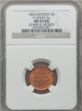 Civil War Merchants, 1863 Lewis & Moses, Detroit, MI, F-225AT-5a, R.7, MS65 Red andBrown NGC.. Purchased from H. Leonard (5/20/1939) for 30ce...