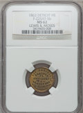 Civil War Merchants, 1863 Lewis & Moses, Detroit, MI, F-225AT-5b, R.8 MS62 NGC..Purchased from James Kelly (7/8/1943) for 50 cents.. From...