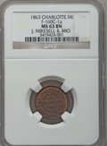 Civil War Merchants, 1863 J. Mikesell, Charlotte, MI, F-160C-1a, R.5, MS63 Brown NGC..Purchased from James Kelly (5/7/1943) for 35 cents.. ...