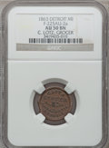 Civil War Merchants, 1863 C. Lotz, Detroit, MI, F-225AU-2a, R.7, AU50 NGC.. IncompletePlanchet.. From The Clifton A. Temple Collection....