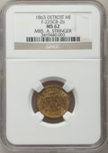 Civil War Merchants, 1863 Mrs. A. Stringer, Detroit, MI, F-225CB-2b, R.8 MS62 NGC..Purchased from James Kelly (7/8/1943) for 50 cents..Fr...