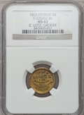 Civil War Merchants, 1863 C. Lotz, Detroit, MI, F-225AU-3b, R.8 MS63 NGC.. Purchasedfrom H. Leonard (5/20/1939) for 30 cents.. From TheCl...