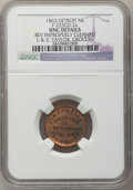 Civil War Merchants, 1863 I. & C. Taylor, Detroit, MI, F-225CD-2a, R.7 - ReverseImproperly Cleaned - NGC Details. Unc.. Purchased from JamesK...