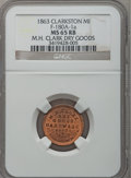 Civil War Merchants, 1863 M.H. Clark, Clarkston, MI, F-180A-1a, R.5, MS65 Red and BrownNGC.. Ex: Thomas L. Elder (5/1940), lot 1463..From...