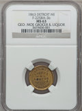 Civil War Merchants, 1863 George Moe, Detroit, MI, F-225BA-3b, R.8 MS63 NGC..Purchased from H. Leonard (5/20/1939) for 30 cents.. FromThe...