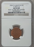 Civil War Merchants, 1864 M.H. Clark, Clarkston, MI, F-180A-3a, R.9, MS64 Red and BrownNGC.. Purchased from James Kelly (5/7/1943) for 35 cent...