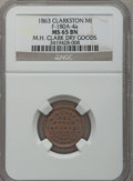 Civil War Merchants, 1863 M.H. Clark, Clarkston, MI, F-180A-4a, R.6, MS65 Brown NGC..Purchased from James Kelly (5/7/1943) for 35 cents.....