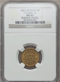 Civil War Merchants, 1863 Perkins Hotel, Detroit, MI, F-225BC-1b, R.9, MS63 NGC..From The Clifton A. Temple Collection....