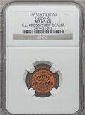 Civil War Merchants, 1863 C.L. Crosby, Detroit, MI, F-225S-2a, R.7, MS65 Red and BrownNGC.. Ex: Thomas L. Elder (5/1940), lot 974.. FromT...