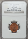 Civil War Merchants, 1864 George E. Curtis, Detroit, MI, F-225T-3a, R.9, MS64 Red andBrown NGC.. Purchased from James Kelly (7/8/1943) for 60 ...