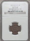 Civil War Merchants, 1863 Godfrey Dean & Co., Detroit, MI, F-225U-1a1, R.9, MS62Brown NGC.. Broadstruck.. From The Clifton A. TempleCollectio...