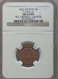 Civil War Merchants, 1863 W.J. Adderley, Detroit, MI, F-225A-5a, R.7, MS64 Brown NGC..Purchased from James Kelly (5/7/1943) for 40 cents.. ...