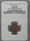 Civil War Merchants, 1863 W.J. Adderley, Detroit, MI, F-225A-5a1, R.9, MS64 Brown NGC..Purchased from James Kelly (5/7/1943) for 40 cents.. ...